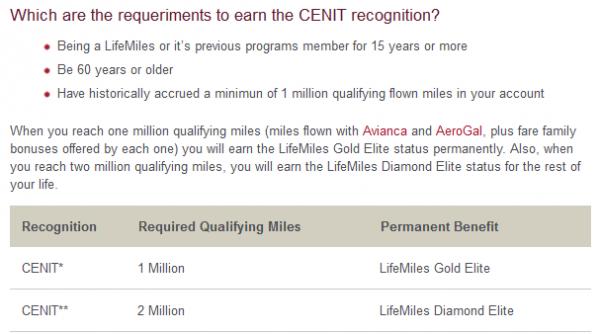 Avianca LifeMiles Cenit Requirement