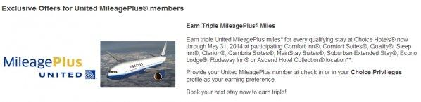 Choice Privileges United MileagePlus Triple Miles April 5 May 31 2014