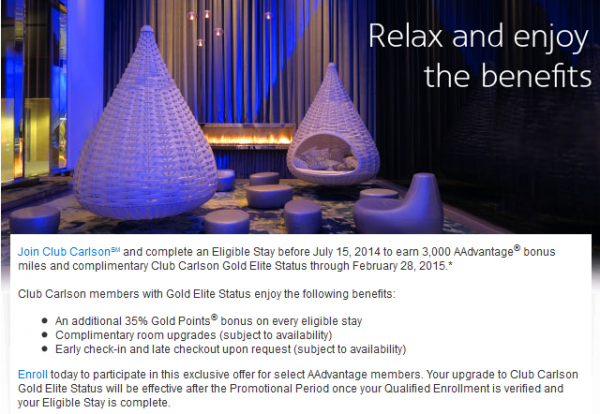 Club Carlson American Airlines Gold Offer Email