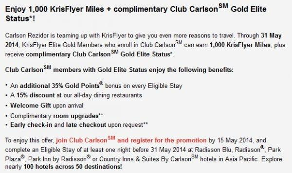Club Carlson Singapore Airlines KrisFlyer Gold Sign Up Offer Text