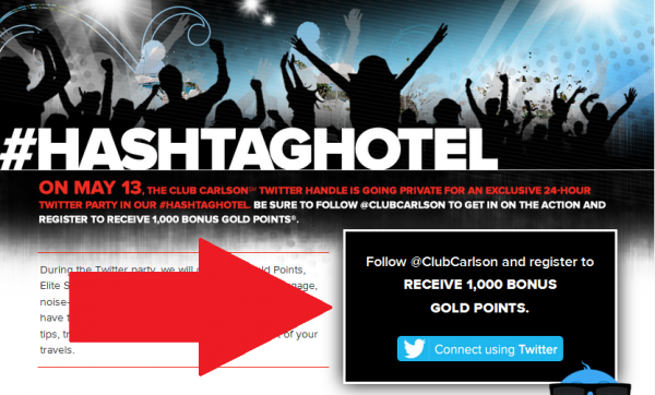 Club Carlson Twitter 1,000 Bonus Points