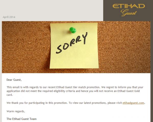 Etihad Status Match Sorry
