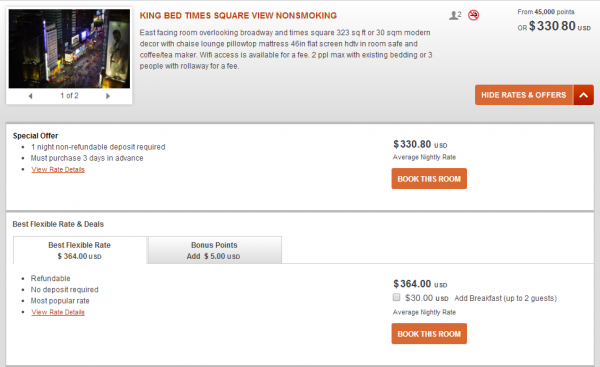 IHG Rewards Club Crowne Plaza Times Square 10,000 Bonus Points Package July 31 2014 BPP Rates 1
