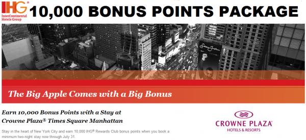 IHG Rewards Club Crowne Plaza Times Square 10,000 Bonus Points Package July 31 2014