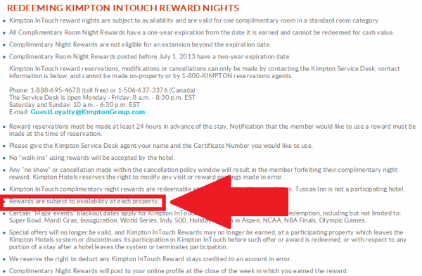 Kimpton InTouch Terms and Conditions Change April 2014 Redeeming