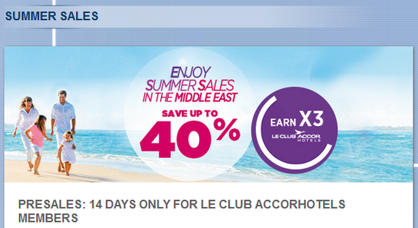 Le Club Accorhotels Middle East Summer Sale Triple Points 40 Percent Off