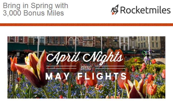 Rocketmiles April Booking Bonus 3000 Miles