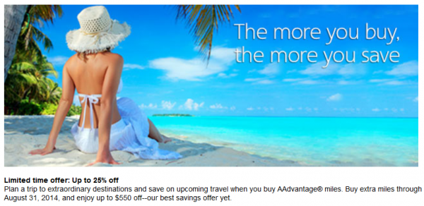 American Airlines Buy Miles Campaign August 2014