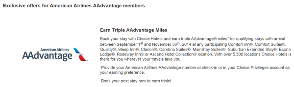 Choice Privileges American Airlines AAdvantage Triple Miles Fall 2014