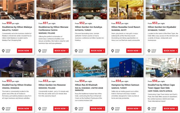 Hilton EMEA Summer Weekends Sale Price Grid