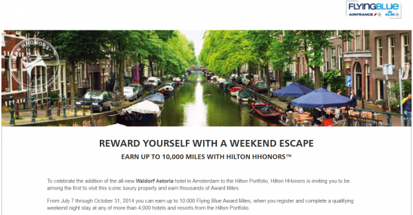 Hilton HHonors Air France-KLM Flying Blue Weekend Bonus Offer Fall 2014