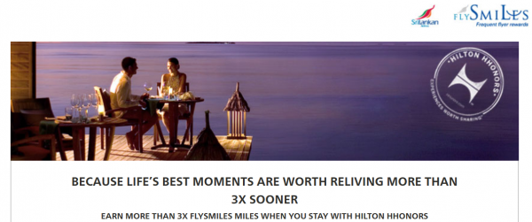 Hilton HHonors SriLankan Airlines FlySmiles Up To Triple Miles Offer August 1 October 31 2014