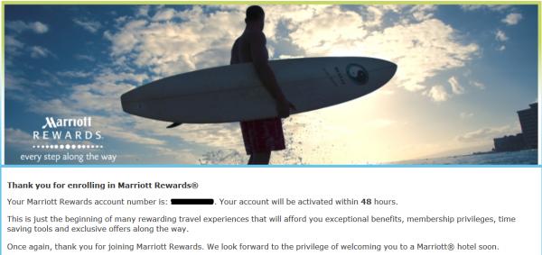 Marriott Rewards Confirmation