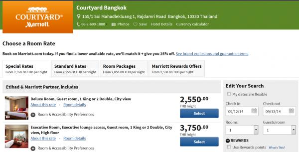 Marriott Rewards Etihad Guest Courtyard Bangkok
