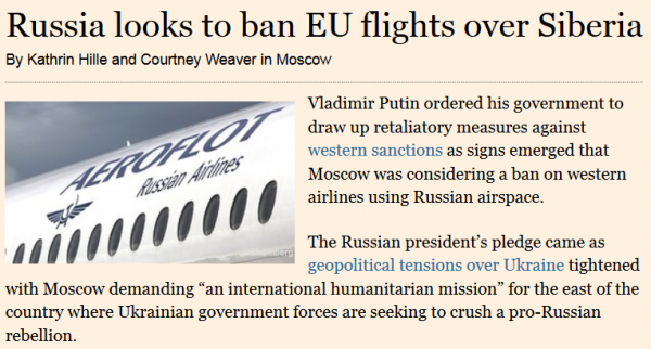 Russia Ban EU Flights Russian Airspace