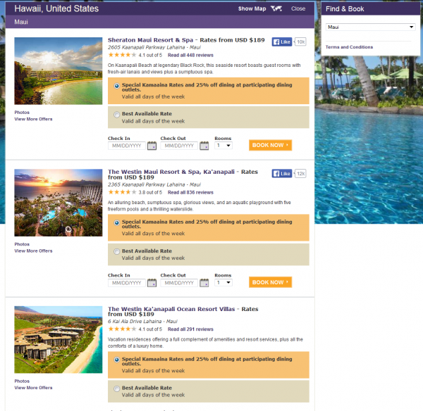 SPG Starwood Preferred Guest Kamaaina Hawaii Rates Maui Grid