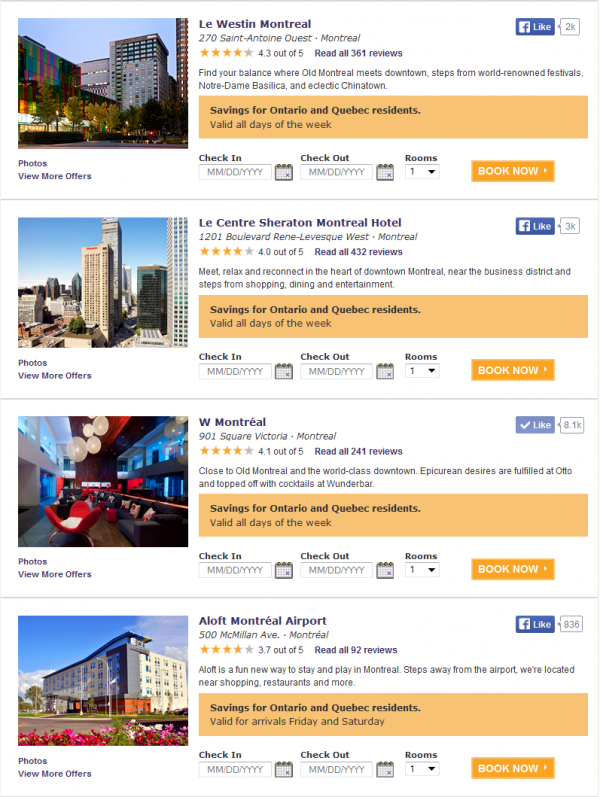 Starwood Ontario Quebec Resident Discount 2014 Montreal