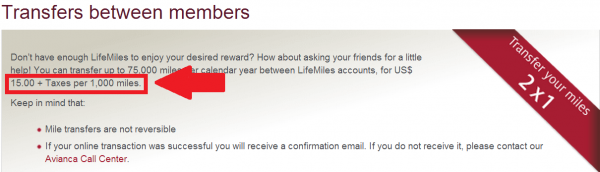 Avianca LifeMiles 100 Percent Transfer Bonus July 3 17 2014 Price