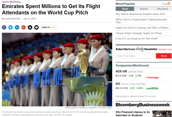 Emirates FIFA World Cup Brazil 2014 Bloomberg