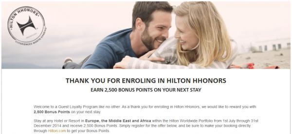 Hilton HHonors 2,500 Bonus Points