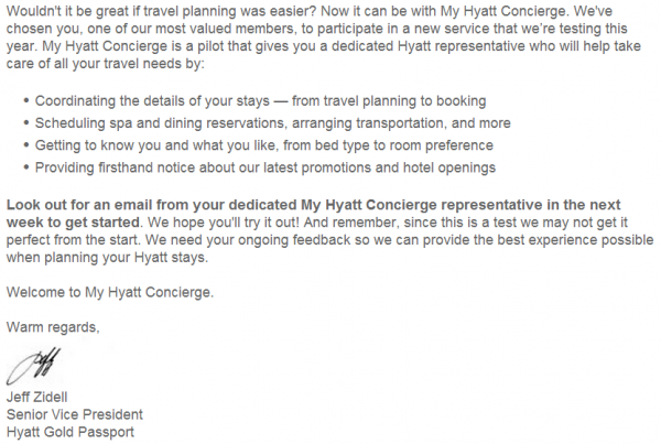 Hyatt Gold Passport My Hyatt Concierge Email Body