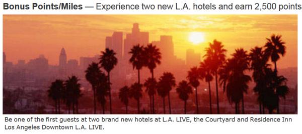 Marriott Rewards L.A. Live Courtyard & Residence Inn 2500 Bonus Points Opening Promo