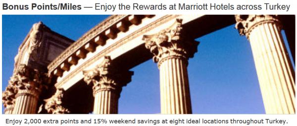 Marriott Rewards Turkey 2,000 Weekend Bonus Offer