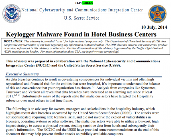 NCCIC & USSS Keylogger Malware Found in Hotel Business Centers