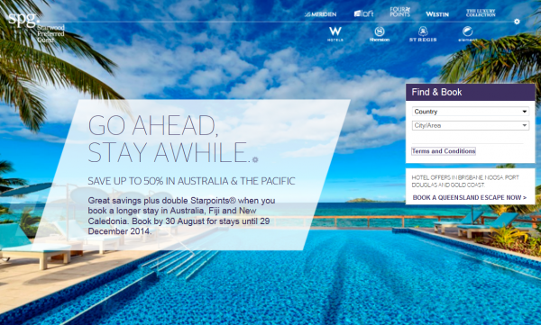 SPG Australia New Caledonia Fiji Double Points & Up To 50 Percent Off