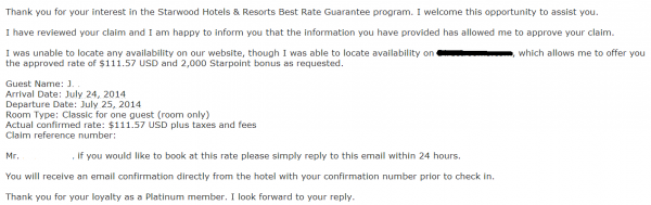 Starwood Best Rate Guarantee Reply