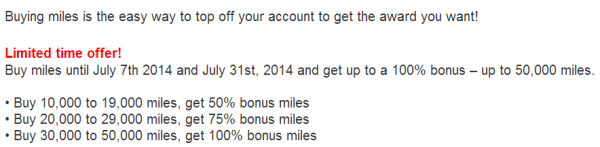 US Airways Buy Gift Dividend Miles July 2014 Offer Table