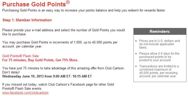 club-carlson-gold-points-flash-sale