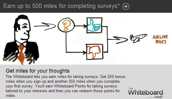Get 500 us airways idend miles for whiteboard sign up one survey