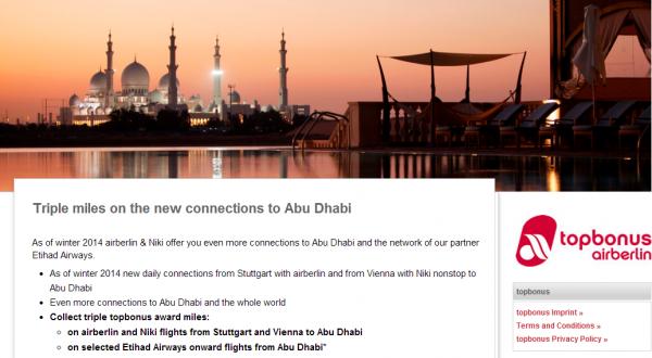 Airberlin Topbonus Abu Dhabi & Beyond Bonus Miles