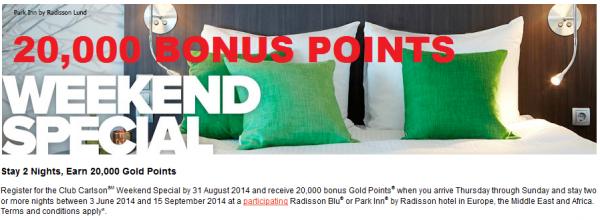 Club Carlson EMEA 20,000 Bonus Points Weekend Promo June 3 September 15 2014