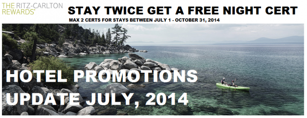 Hotel Promotions Update July 2014