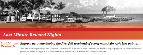 IHG Rewards Club Last Minute Award Nights