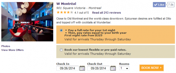 SPG Pay Your Age W Montreal