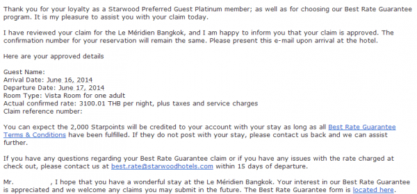 Starwood Best Rate Guaranteed Expedia Claim Confirmation