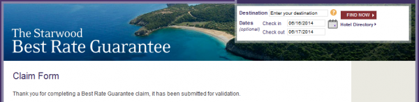 Starwood Best Rate Guaranteed Expedia Claim Validation