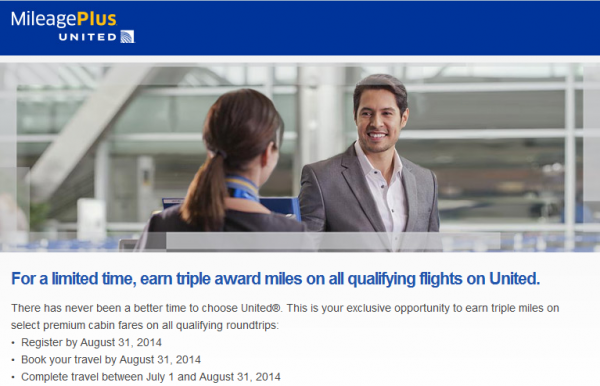 United Airlines MileagePlus Triple Miles Offer