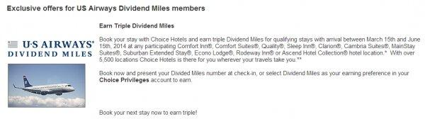 Choice Privileges US Airways Triple Miles Offer Spring 2014
