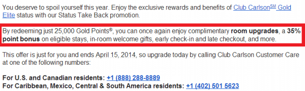 Club Carlson Status Take Back Promotion March 2014 Text