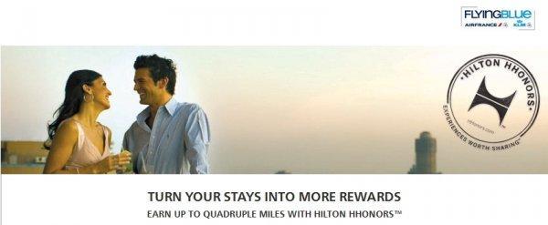 Hilton HHonors Air France-KLM Flying Blue Up T Quadruple Miles Spring 2014