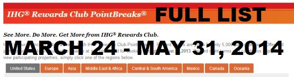 IHG Rewards Club PointBreaks March 24 May 31 2014