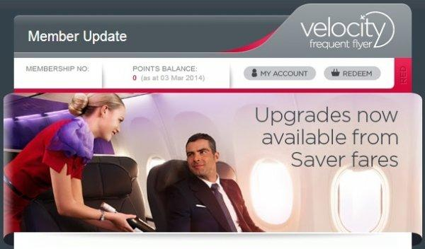 Virgin Velocity Domestic Upgrades From Saver Fares