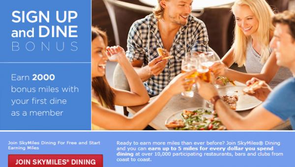 Delta SkyMiles Dining Bonus 2,000 Miles