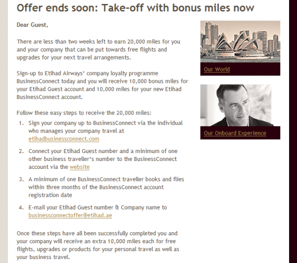 Etihad BusinessConnect Sign Up Offer Spring 2014 Text