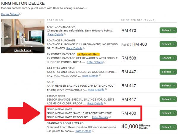 Hilton Gold Metal 15 Percent Off Rate Hilton Kuala Lumpur