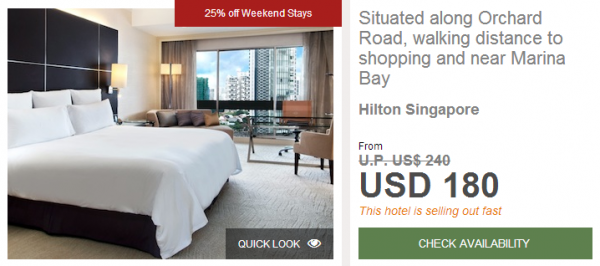 Hilton HHonors Singapore Hilton Conrad 25 Percent Off Weekend Sale Hilton